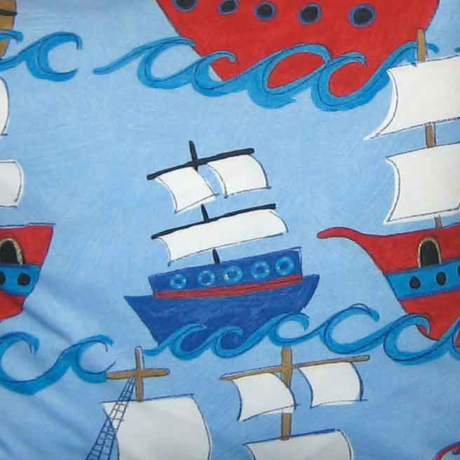 Blue Pirate Galleons Kid's Furnishing Fabric by Clarke and Clarke (Globaltex), All At Sea Collection