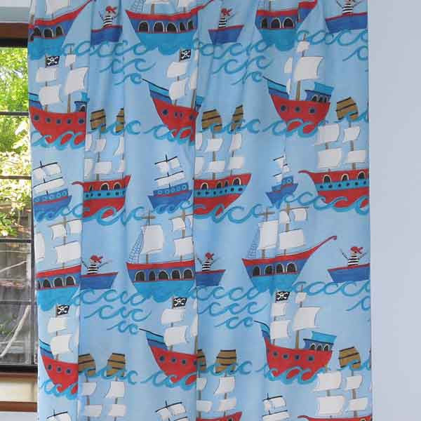 Blue Pirate Galleons Kid's Furnishing Fabric by Clarke and Clarke (Globaltex), All At Sea Collection - Fabric and Ribbon