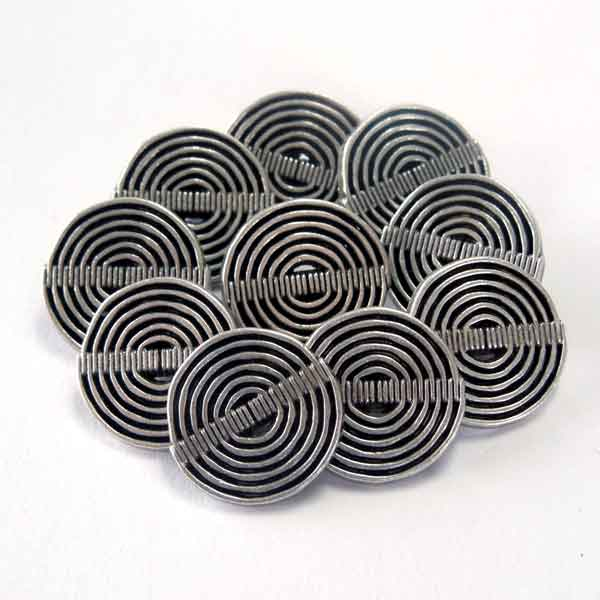 Silver Metal Swirl Buttons 19 mm, 23 mm, Round Silver Metal Shank Buttons, Pack of 8 Silver Shank Buttons - Fabric and Ribbon