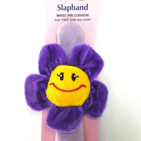 Happy Flower Face Pin Cushion, Flower Wrist Slap Band Pin Cushion, Kid's Novelty Pin Cushion