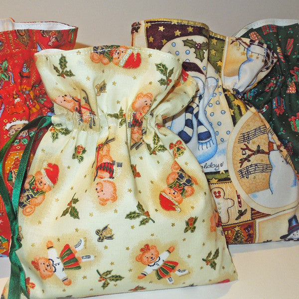 Christmas Small Drawstring Bags Handmade in 4 different Xmas Pure Cotton Fabrics and Fully Lined