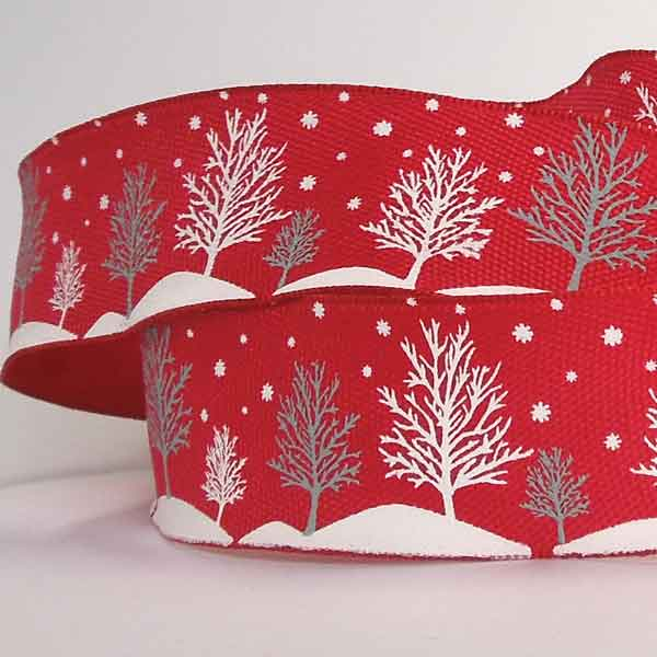 38 mm Red Christmas Tree Ribbon, Xmas Winter Trees and Snowflakes Red Gift Wrap - Fabric and Ribbon
