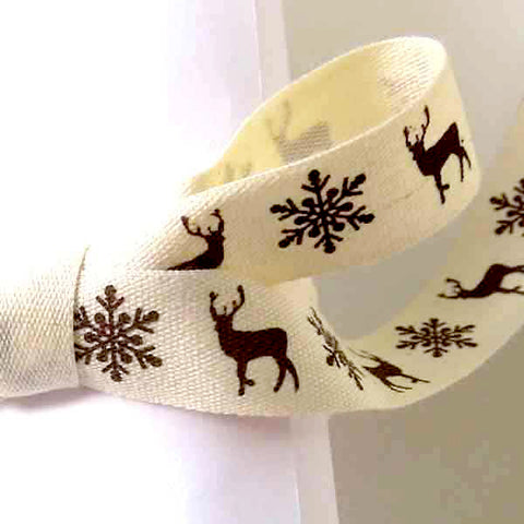 15 mm Xmas Brown Reindeer and Snowflakes Cotton Ribbon