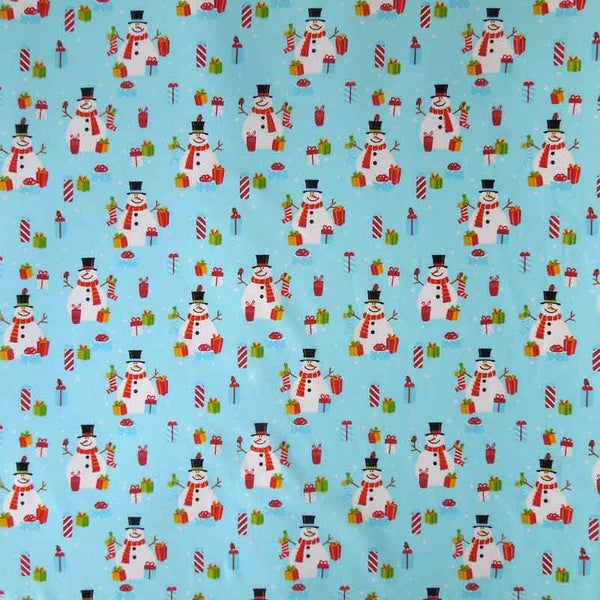 Kid's Blue Christmas Snowmen Cotton Fabric by Rose & Hubble, Xmas Snowmen and Presents Fabric