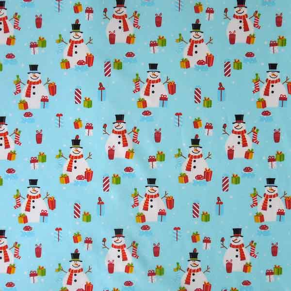 Kid's Blue Christmas Snowmen Cotton Fabric by Rose & Hubble, Xmas Snowmen and Presents Fabric - Fabric and Ribbon