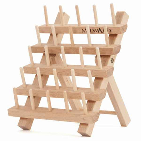 Beech Wood Thread Holder for 25 Spools, Folding Wooden Bobbin Rack