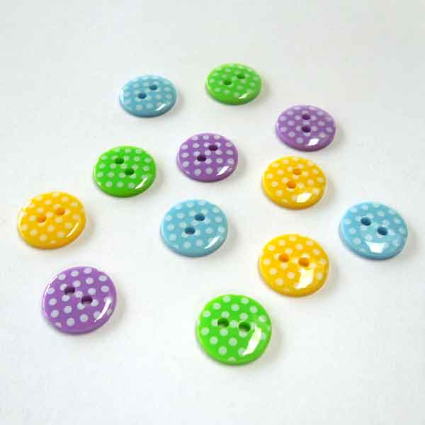 12 mm Bright Green Polka Dot Buttons, White Spots on Green Buttons, Pack of 10 Green Buttons