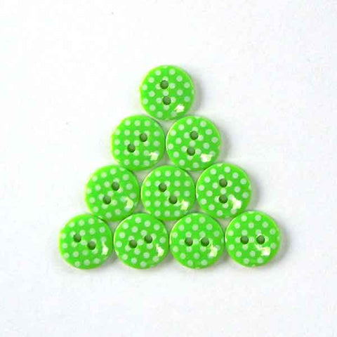 12 mm Bright Green Polka Dot Buttons, White Spots on Green Buttons, Pack of 10 Green Buttons - Fabric and Ribbon