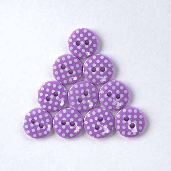 12 mm Purple Polka Dot Buttons, White Spots on Purple Buttons, Pack of 10 Purple Buttons - Fabric and Ribbon