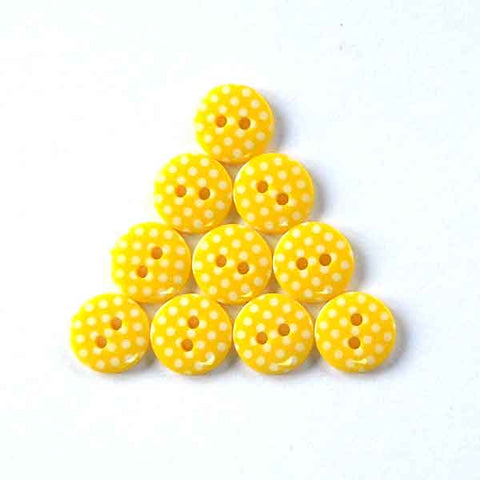 12 mm Yellow Polka Dot Buttons, White Spots on Yellow Buttons, Pack of 10 Yellow Buttons