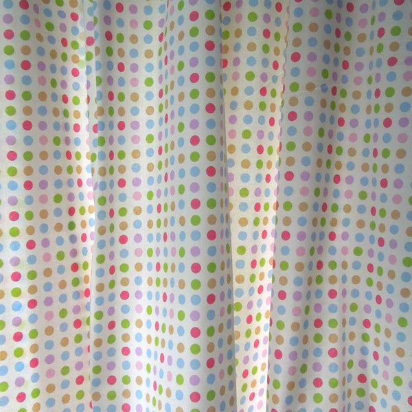 Spotty by Clarke and Clarke (formerly Globaltex), Lilac, Pink and Pale Blue Polka Dot Cotton Furnishing Fabric - Fabric and Ribbon