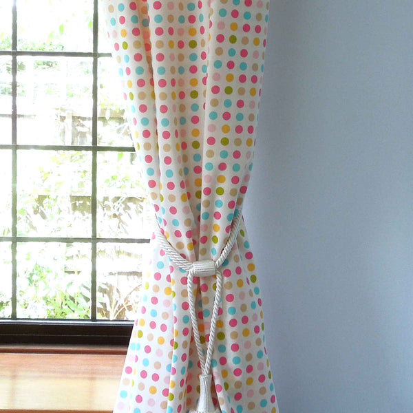 Spotty by Clarke and Clarke (formerly Globaltex), Yellow, Pink and Blue Cotton Furnishing Fabric,