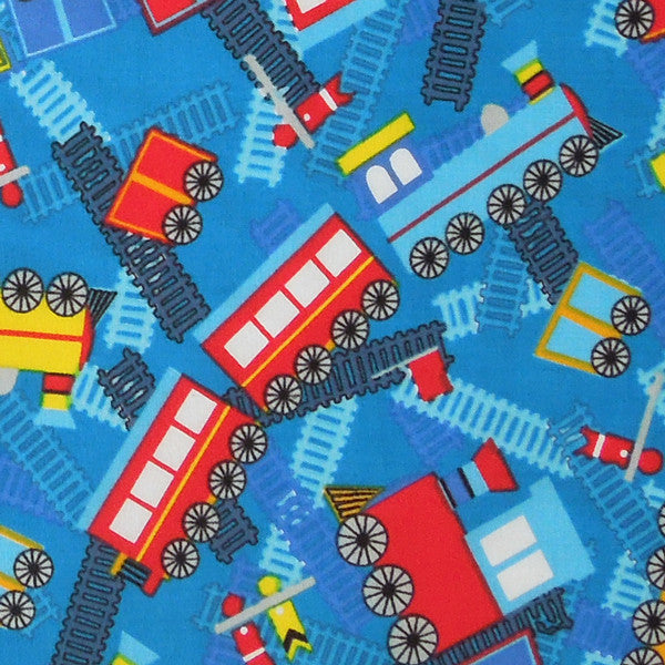 Kid's Blue Train Cotton Fabric, Boy's Blue Railway and Train Fabric