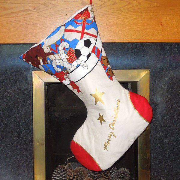 White and Cream Christmas Stocking, Luxury Padded Large Christmas Stocking - Fabric and Ribbon
