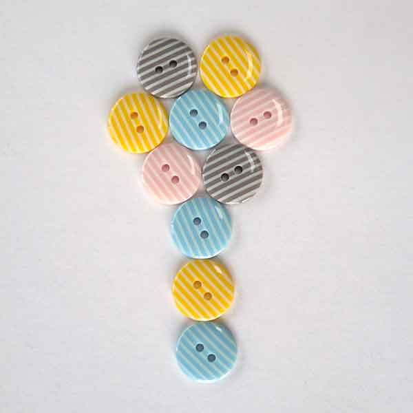 15 mm Yellow Stripe Buttons,  White Stripes on Yellow Buttons, Pack of 10 2 Hole Buttons