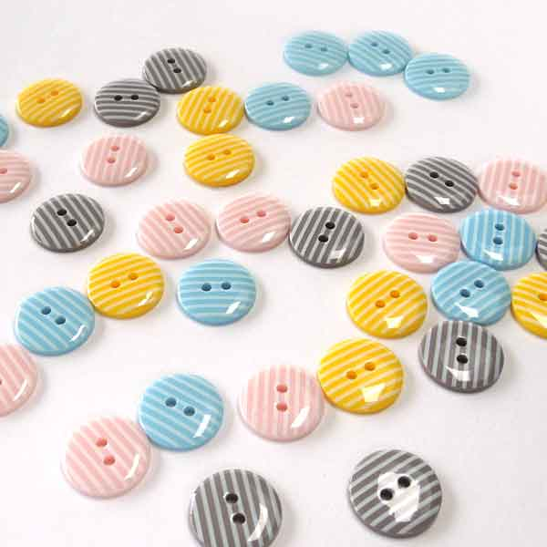 15 mm Pink Stripe Buttons,  White Stripes on Pale Pink Buttons, Pack of 10 2 Hole Buttons