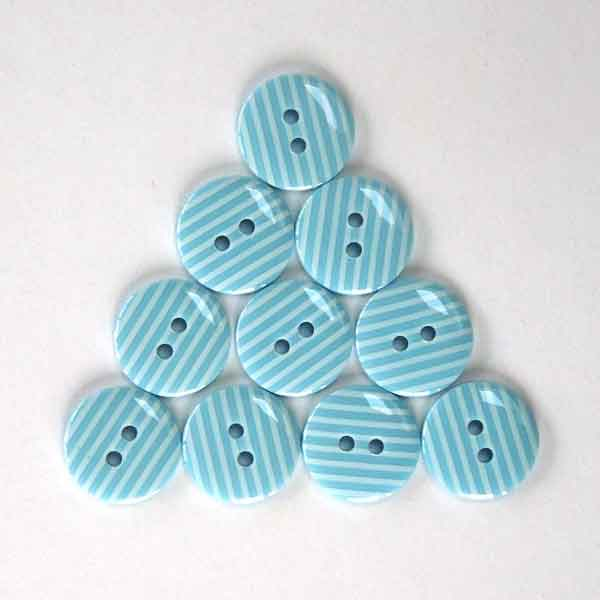 15 mm Blue Stripe Buttons,  White Stripes on Pale Blue Buttons, Pack of 10 2 Hole Buttons