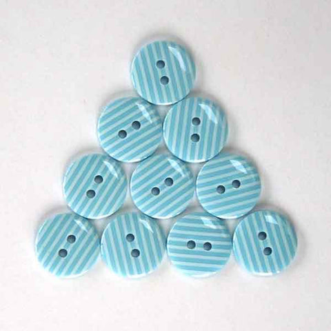 15 mm Blue Stripe Buttons,  White Stripes on Pale Blue Buttons, Pack of 10 Blue and White Striped 2 Hole Buttons for Crafts and Sewing