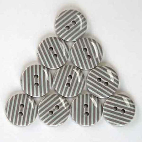 15 mm Taupe Stripe Buttons,  White Stripes on Brown Buttons, Pack of 10 Brown Grey and White Striped 2 Hole Buttons for Crafts and Sewing