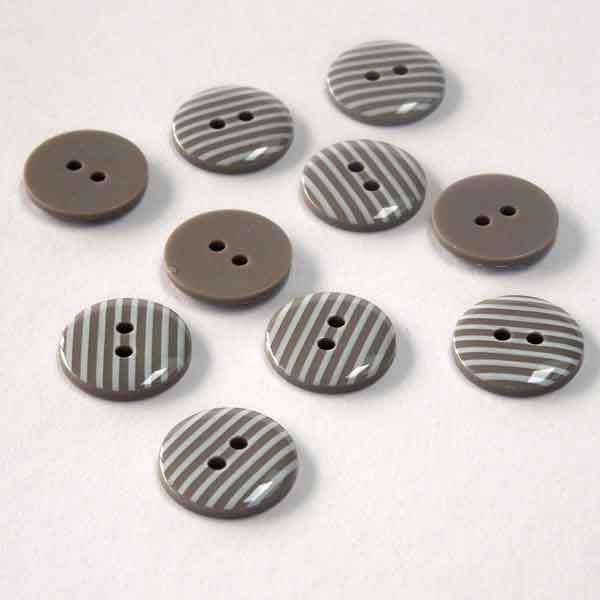 15 mm Taupe and White Stripe Buttons, Pack of 10 Brown Grey and White Striped 2 Hole Buttons