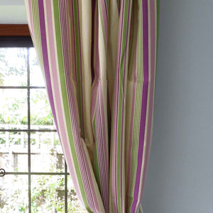 Purple, Lilac and Green Deckchair Striped Furnishing Fabric . - Fabric and Ribbon