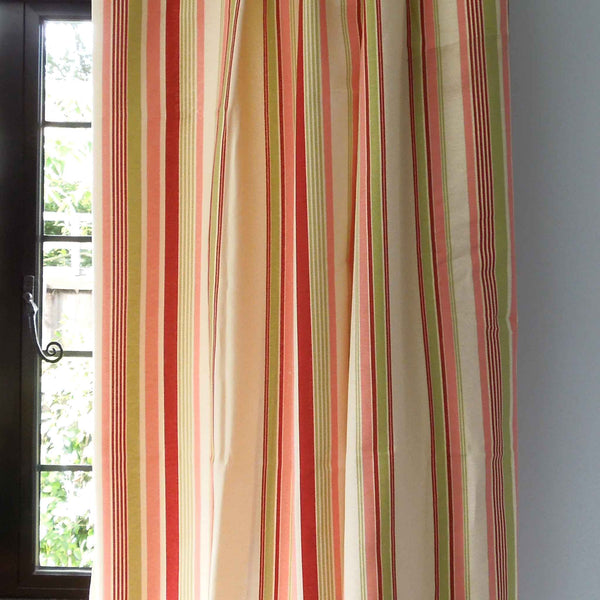 Red, Pink and Green Deckchair Striped Furnishing Fabric . - Fabric and Ribbon