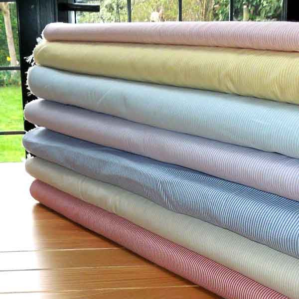 Beige Stripe Fabric, Beige and White Narrow Striped Cotton Fabric