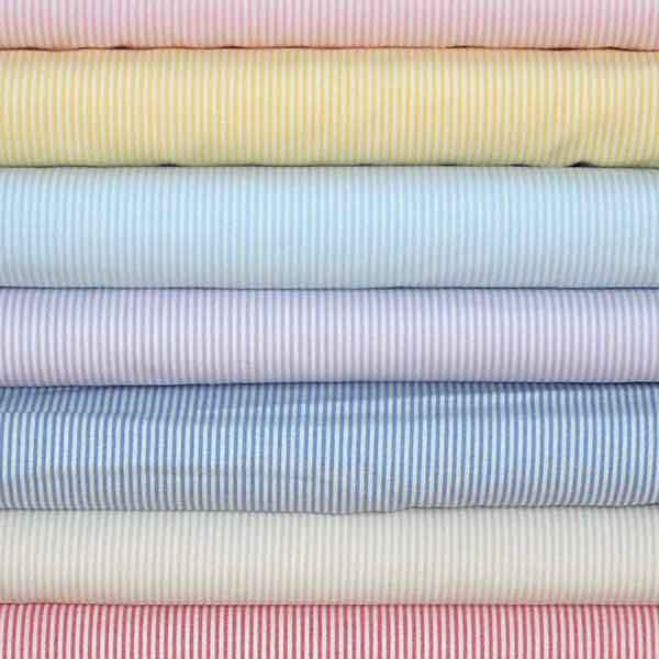 Pale Blue Stripe Fabric, Light Blue and White Narrow Striped Cotton Fabric