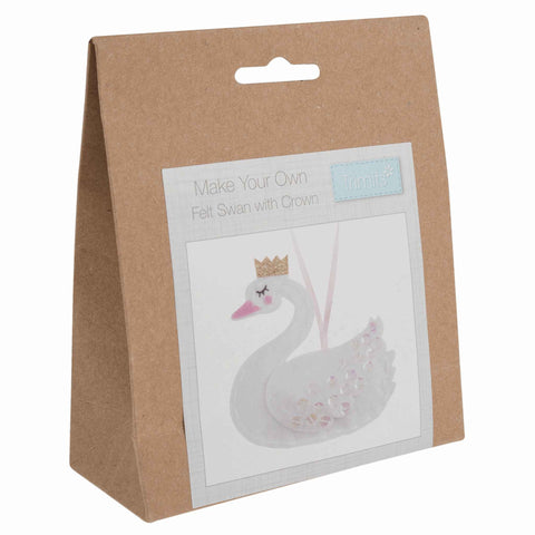 Felt Swan with Crown Kit, Make Your Own Swan, GCK075 - Fabric and Ribbon