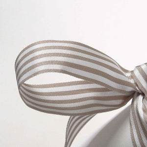 16 mm Grey and White Striped Ribbon