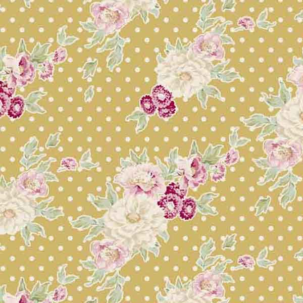 Tilda Cybill Tan Yellow Cotton Fabric, Apple Bloom Collection, Tilda Fabric 480840 - Fabric and Ribbon