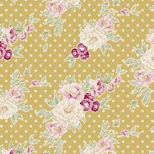 Tilda Cybill Tan Yellow Cotton Fabric, Apple Bloom Collection, Tilda Fabric 480840