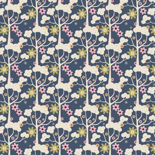 Tilda Wildgarden Dark Blue Cotton Fabric, Pardon My Garden Collection, Tilda Fabric 481118