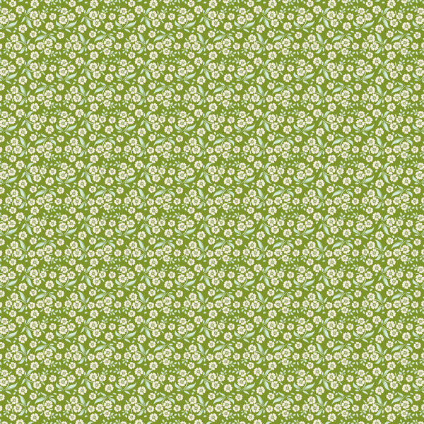 Tilda Forget Me Not Green Cotton Fabric, Circus Collection, Tilda Fabric 481339