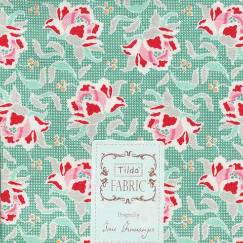 Tilda Clown Flower Teal Fat Quarter, Circus Collection, Tilda Fabric 481363