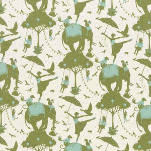 Tilda Circus Life Green Cotton Fabric, Circus Collection, Tilda Fabric 481469 - Fabric and Ribbon
