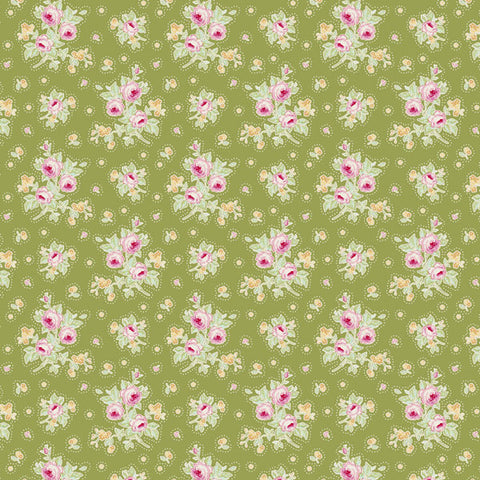 Tilda First Kiss Green Cotton Fabric, Circus Collection, Tilda Fabric 481483 - Fabric and Ribbon