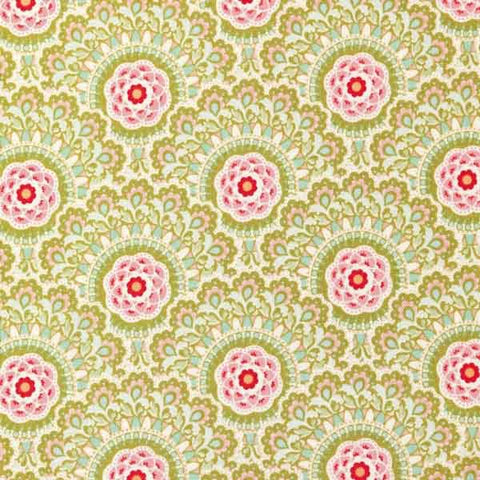 Tilda Cabbage Flower Green Cotton Fabric, Harvest Collection, Tilda Fabric 481501 - Fabric and Ribbon
