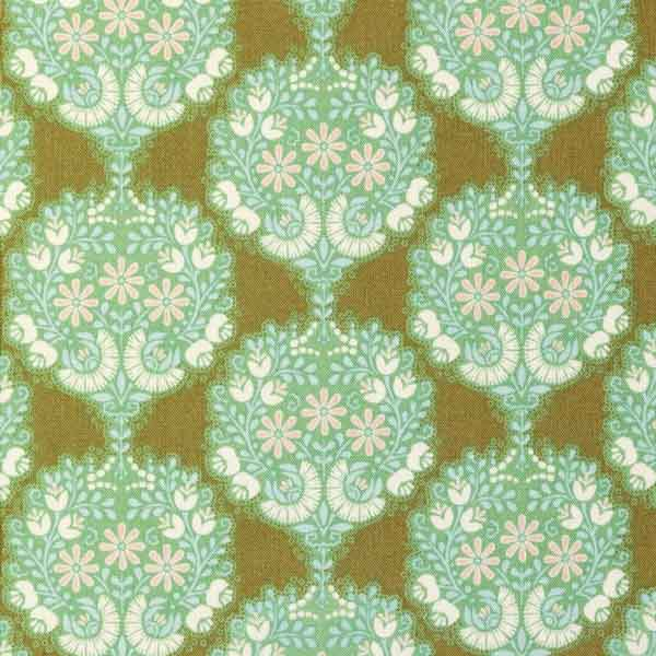 Tilda Flower Tree Green Cotton Fabric, Harvest Collection, Tilda Fabric 481503