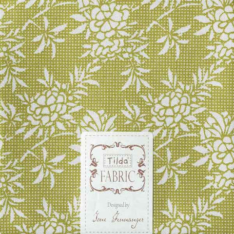 Tilda Flower Bush Green Fat Quarter, Harvest Collection, Tilda Fabric 481554