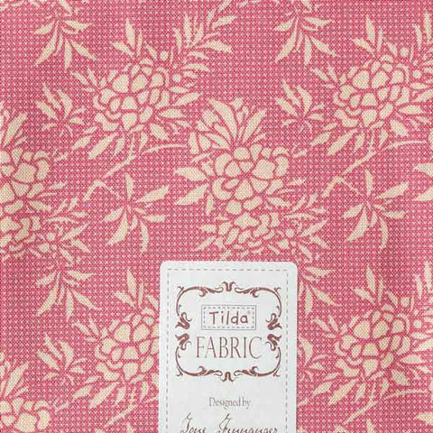 Tilda Flower Bush Pink Fat Quarter, Harvest Collection, Tilda Fabric 481557