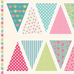 Tea Party Bunting Cotton Fabric by Makower 1649/1 from their Tea Party Collection