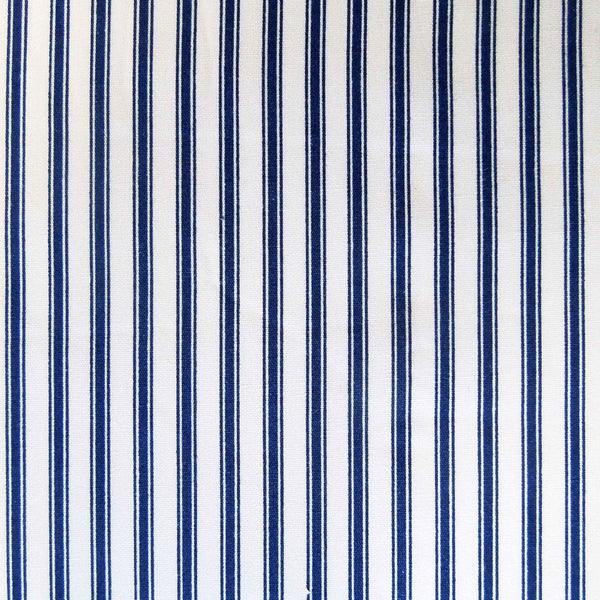 Dark Blue Ticking Stripe Fabric by Rose & Hubble, Blue and Cream Stripe Cotton Fabric