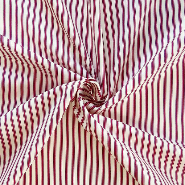 Red Ticking Stripe Cotton Fabric by Rose & Hubble - Fabric and Ribbon