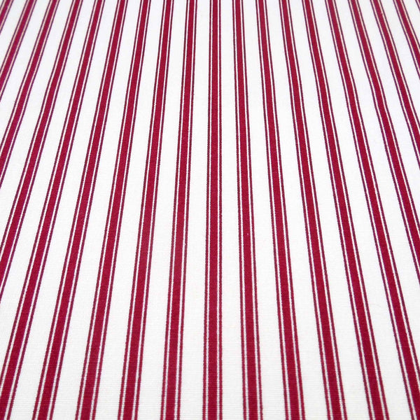 Red Ticking Stripe Fabric by Rose & Hubble, Red and Cream Striped Cotton Fabric