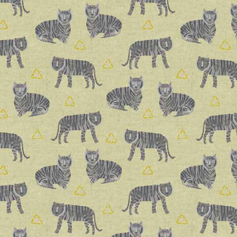 Grey Tiger Fabric by Andover Fabrics 8646,  Grey Tiger Plant Linen and Cotton Mix Fabric