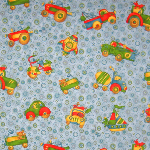 ee1e0c82ba61e Baby Car and Truck Blue Fabric, Kid's Retro Tractor and Boat Cotton Fabric,  Where The Boys Are Fabric
