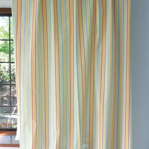 Sunshine Yellow Toy Stripe Cotton Furnishing Fabric by Clarke and Clarke (Globaltex), Playtime Collection - Fabric and Ribbon