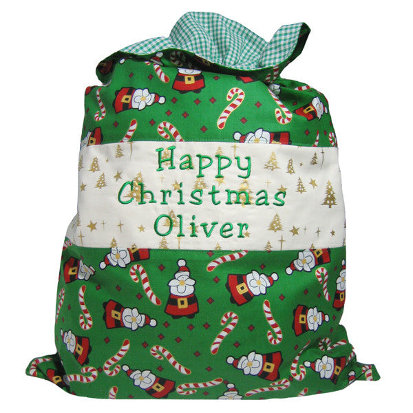 Green Santa Personalised Happy Christmas Toy Sack, Joyeux Noel Santa Toy Sack, Kid's Xmas Bag - Fabric and Ribbon