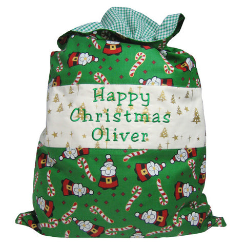 Green Santa Personalised Happy Christmas Toy Sack, Joyeux Noel Santa Toy Sack, Kid's Xmas Bag